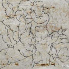 Arte: EXCELENTE DIBUJO ORIGINAL DE UNOS QUERUBINES SOBRE PAPEL VERJURADO, POSIBLEMENTE SIGLO XVIII, CUÑADO. Lote 183799202