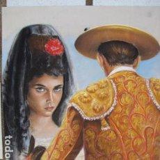 Arte: PINTURA EN PASTEL. ORIGINAL. PICADOR Y JOVEN CON PEINETA Y MANTILLA. NICCA HOEG 1982. Lote 183816117