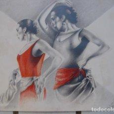 Arte: DIBUJO DE LÁPIZ Y PASTEL. BAILAORA. NICCA HOEG. 1982. Lote 183816723