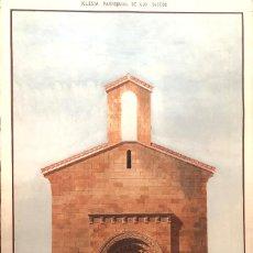 Arte: ASTURIAS MIERES DIBUJO ARQUITECTURA JOSE ANSELMO CAPDEVILA IGLESIA PARROQUIAL UJO OVIEDO 1888. Lote 183830723