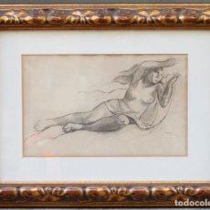 Arte: XAVIER NOGUÉS (1873 - 1941), DIBUJO, ESTUDIO, 1933, MUJER DESNUDA, CON MARCO. 42X26CM. Lote 183891082
