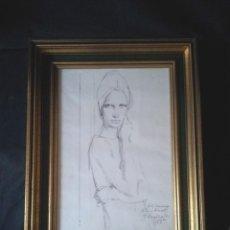 Arte: DIBUJO DE FELIX REVELLO DE TORO DEDICADO 1977. Lote 183916413
