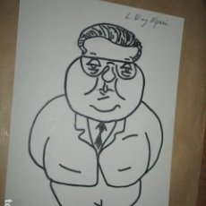 Arte: CARICATURA DIBUJO ORIGINAL DIAZ ALPERI ALCALDE POLITICO ALICANTE FIRMA ILEGIBLE. Lote 183979566