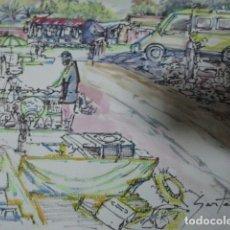 Arte: ACUARELA RASTRO DE GUARDAMAR ALICANTE FIRMADA. Lote 184030343