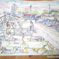 Arte: ACUARELA RASTRO DE GUARDAMAR ALICANTE. Lote 184030442