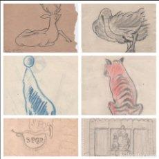 Arte: LOTE DE SEIS BOCETOS DIBUJOS ORIGINALES DE ENRIC C RICART. VER DESCRIPCIÓN.. Lote 184134981