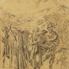 Arte: ESCUELA ESPAÑOLA S.XVIII-XIX. CARBONCILLO/PAPEL 19 X 16 CM. FIRMADO ILEGIBLE (SOLANA?).. Lote 184297287