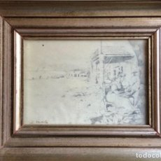 Arte: DIBUJO A LÁPIZ PLAYA BADALONA FIRMA S. MATILLA ( SEGUNDO MATILLA MARINA ). Lote 184380920