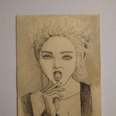 Arte: DIBUJO ORIGINAL, RETRATO MADONNA. Lote 184465840