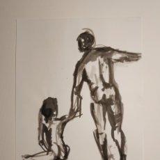 Arte: DESNUDOS ACADÉMICOS, DIBUJO ORIGINAL TINTA CHINA. Lote 184478326
