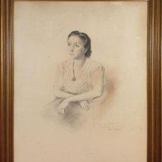 Arte: RETRATO DE DAMA. DIBUJO AL PASTEL. DEDICADO. FRANCISCO DOMINGO SEGURA. 1941. . Lote 184528947