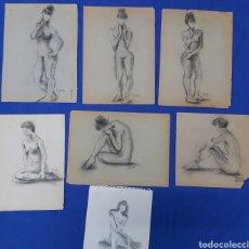 Arte: LOTE 7 DIBUJOS DESNUDOS A CARBONCILLO FIRMADOS. Lote 185682883
