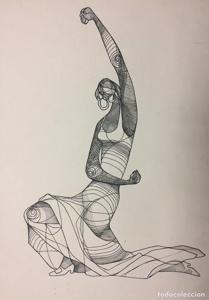 FLAMENCO. CIRO SALOMON ODUBER (PANAMÁ 1921-ESPAÑA 2002). MEDIDAS 45X34 CMS. (Arte - Dibujos - Contemporáneos siglo XX)