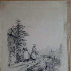 Arte: DIBUJO ANTIGUO A LAPIZ . ( ESCUELA INGLESA ).. Lote 185722688