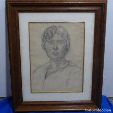 Arte: EXCELENTE DIBUJO-RETRATO MINA DE PLOMO DEL SIGLO XIX ANONIMO.ESCUELA DE OLOT.. Lote 185750493
