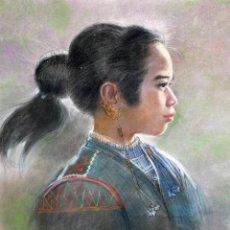 Arte: PETER ALCANTARA (FILIPINAS, 1925 - ??) DIBUJO A PASTEL FECHADO DEL AÑO 1987. RETRATO NIÑA FILIPINA. Lote 185756696