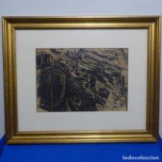 Arte: EXCELENTE DIBUJO DE FRANCISCO GIMENO ARASA.PUERTO CON BARCOS.. Lote 185756793