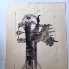 Arte: MANUEL BEA - TÉCNICA MIXTA SOBRE PAPEL, FIRMADA. Lote 185899085