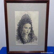 Arte: DIBUJO DE YAGO CESAR DEDICADO.BUEN TRAZO.1946. Lote 186023786