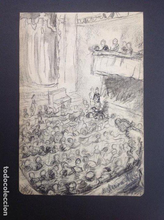 PEDRO ISERN ALLIE. EL TEATRO. (Arte - Dibujos - Modernos siglo XIX)