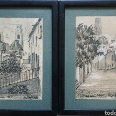Arte: RINCONES DEL MASNOU, BARCELONA - 2 DIBUJOS A TINTA I PASTEL.FIRMADOS OLIVÉ.1946.. Lote 184789275