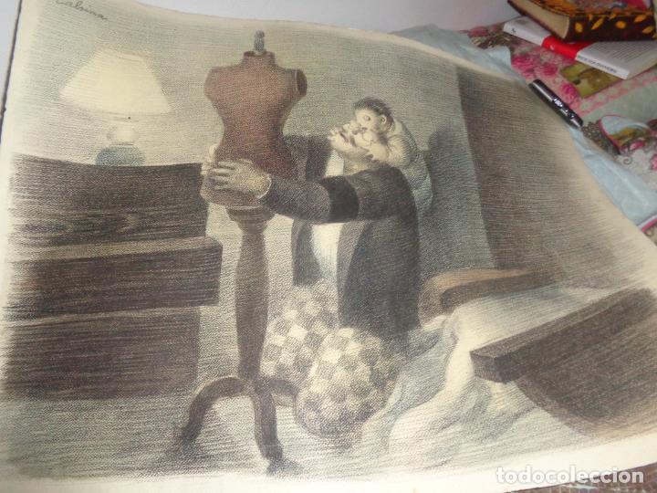 Arte: AUTOR. RAMON CALSINA AÑO 1931 TITULO: EL VIUDO DE LA MODISTA. TAMAÑO 47X61 CTMS DIBUJO A LAPIZ - Foto 2 - 186227792