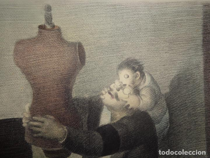 Arte: AUTOR. RAMON CALSINA AÑO 1931 TITULO: EL VIUDO DE LA MODISTA. TAMAÑO 47X61 CTMS DIBUJO A LAPIZ - Foto 3 - 186227792