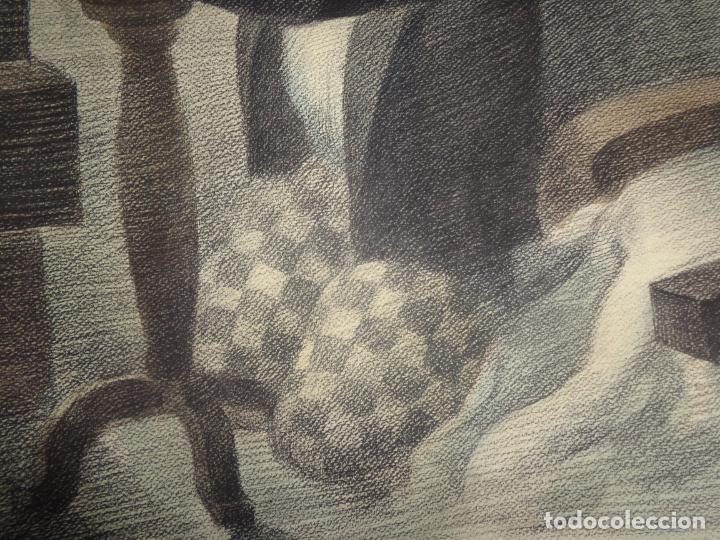 Arte: AUTOR. RAMON CALSINA AÑO 1931 TITULO: EL VIUDO DE LA MODISTA. TAMAÑO 47X61 CTMS DIBUJO A LAPIZ - Foto 5 - 186227792