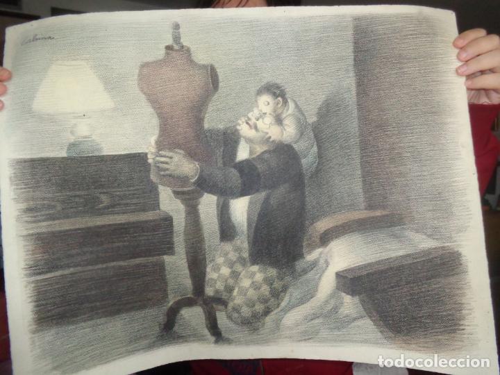 Arte: AUTOR. RAMON CALSINA AÑO 1931 TITULO: EL VIUDO DE LA MODISTA. TAMAÑO 47X61 CTMS DIBUJO A LAPIZ - Foto 12 - 186227792