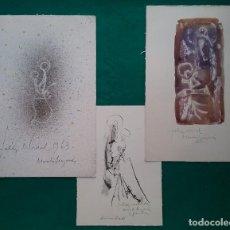 Arte: MORATÓ ARAGONÉS DIBUJO ORIGINAL FELICITACIÓN NAVIDEÑA LOTE 3 1961 - 1962 - 1963. Lote 186229957