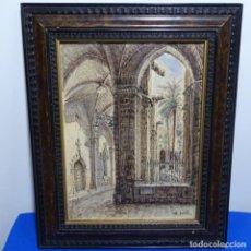Arte: DIBUJO A PLUMILLA Y ACUARELA DE DESIDERI FUSTE RIBES.BUEN TRAZO.CATEDRAL DE BARCELONA.. Lote 186460645