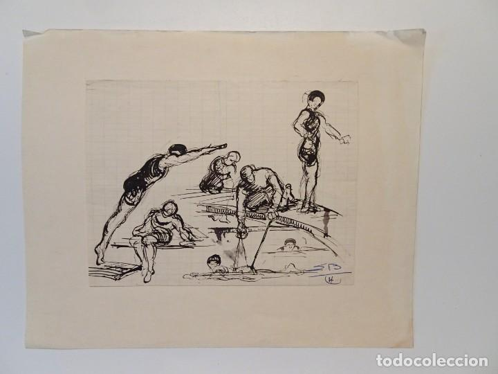 DIBUJO BOCETO NADADORES PERÍODO ART DECO TINTA CHINA FDO S.B. (Arte - Dibujos - Contemporáneos siglo XX)