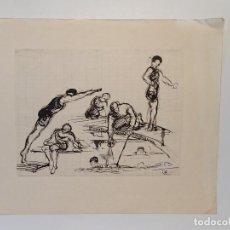 Arte: DIBUJO BOCETO NADADORES PERÍODO ART DECO TINTA CHINA FDO S.B.. Lote 187090698