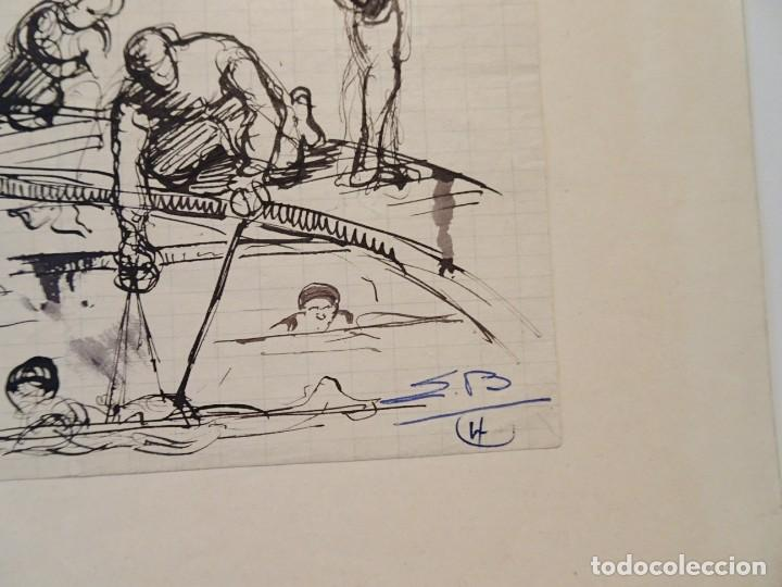 Arte: DIBUJO BOCETO NADADORES PERÍODO ART DECO TINTA CHINA FDO S.B. - Foto 2 - 187090698