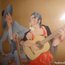 Arte: GRACIOSA PAREJA DE FLAMENCOS. CARICATURA LA FIRMA DICE GIRONELLA MIDE 47X43 Y 55X45,5 CON MARCO. Lote 187209680