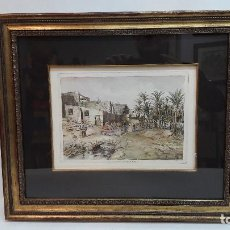 Arte: GRABADO DE ELCHE , ACEQUIA MARCHENA, MEDIDA SOLO PLANCHA 18X25 CM. Y MARCO 40X47 CM.. Lote 187578001