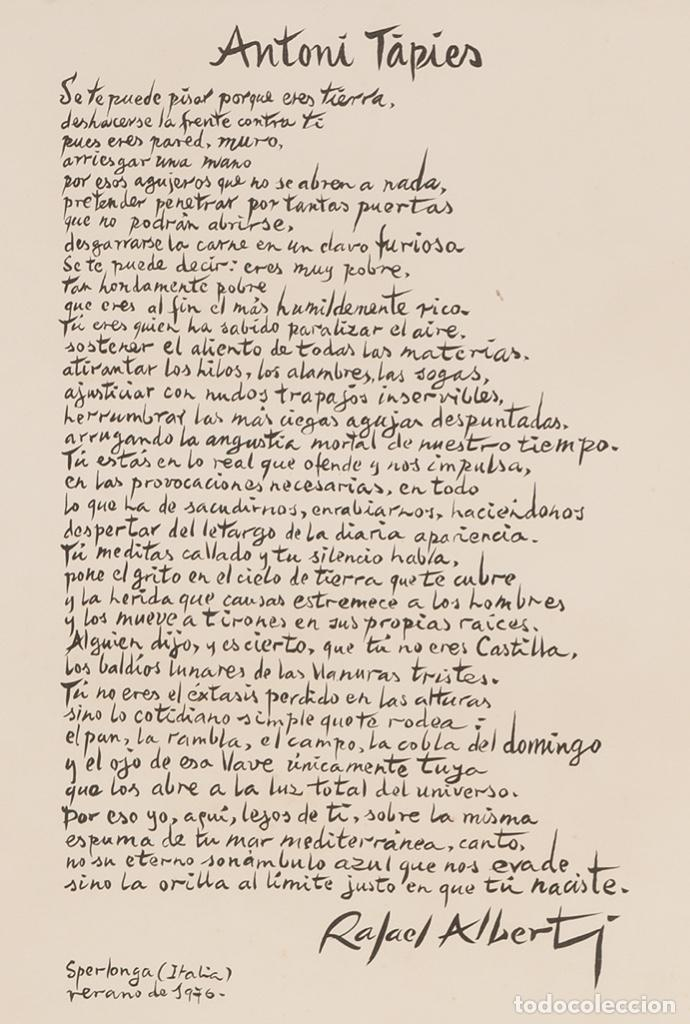 Arte: ANTONI TÀPIES Original 1979 ACRÍLICO, ACUARELA Y LÁPIZ CERTIFICADO DE AUTENTICIDAD COMISIÓN TAPIES - Foto 7 - 178906457