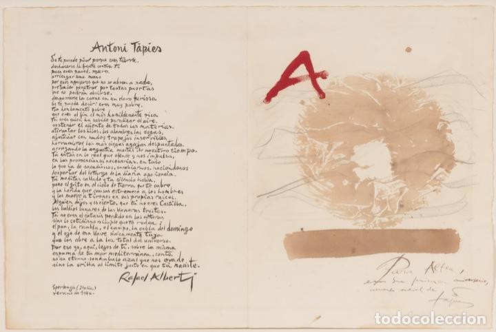 Arte: ANTONI TÀPIES Original 1979 ACRÍLICO, ACUARELA Y LÁPIZ CERTIFICADO DE AUTENTICIDAD COMISIÓN TAPIES - Foto 2 - 178906457