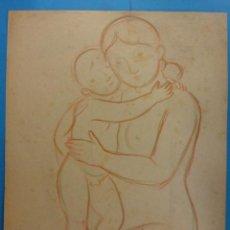 Arte: ORIGINAL. MUJER Y NIÑO. 27 X 21. COLOREADO. OBRA DE FRANCESC GASSÓ.IDEAL PARA ENMARCAR. Lote 189096513
