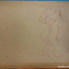 Arte: ORIGINAL. MUJER Y NIÑO. 21 X 13. COLOREADO. OBRA DE FRANCESC GASSÓ.IDEAL PARA ENMARCAR. Lote 189096741