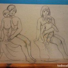 Arte: ORIGINAL. MUJER Y NIÑO. 29 X 21. OBRA DE FRANCESC GASSÓ.IDEAL PARA ENMARCAR. Lote 189097115