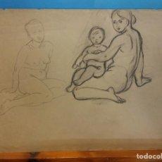 Arte: ORIGINAL. MUJER. MUJER Y NIÑO. 29 X 21. OBRA DE FRANCESC GASSÓ.IDEAL PARA ENMARCAR. Lote 189097153