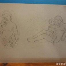 Arte: ORIGINAL. MUJER Y NIÑO. 31 X 21. OBRA DE FRANCESC GASSÓ.IDEAL PARA ENMARCAR. Lote 189097255