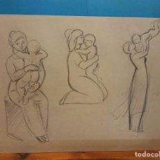 Arte: ORIGINAL. MUJER Y NIÑO (3). 30 X 21. OBRA DE FRANCESC GASSÓ.IDEAL PARA ENMARCAR. Lote 189097408