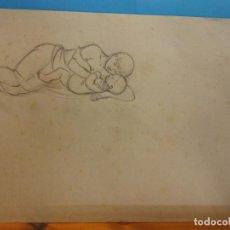 Arte: ORIGINAL. MUJER Y NIÑO. 17 X 10. OBRA DE FRANCESC GASSÓ.IDEAL PARA ENMARCAR. Lote 189097510