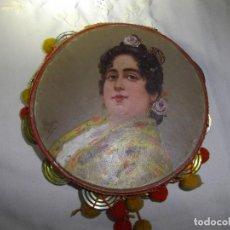 Arte: ANTIGUA PANDERETA CON PINTURA DE MUJER GITANA Y FIRMADA POR CAYÓN.. Lote 189238820