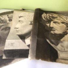 Art: ANTIGUO LOTE DE 3 DIBUJOS A CARBONCILLO , FIRMADOS - ACADEMIAS. Lote 189585365