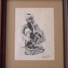 Arte: JUAN ALIU S. DIBUJO A TINTA ÁRABE. PRIMERA MITAD DEL SIGLO XX. FIRMADA A MANO. BUEN ESTADO.. Lote 189624765