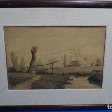 Arte: ACUARELA Y DIBUJO FIRMADO J. COSTA I VILA.. Lote 189677855