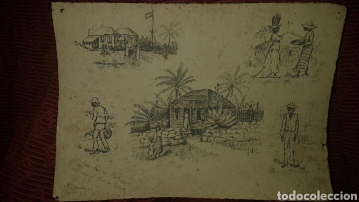 APUNTES DE CUBA DE EDUARDO VASALLO Y DORRONZORO, SIGLO XIX. (Arte - Dibujos - Modernos siglo XIX)